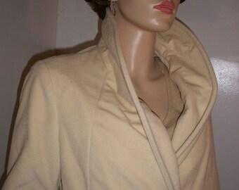 Amazing vintage 50s 60s Bromleigh Cream Velvet Velveteen COAT S M 36