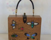 """Enid Collins of Texas """"Glitterbugs"""" box purse hand painted with rhinestones"""
