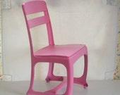 Vintage child school chair metal and wood industrial pink