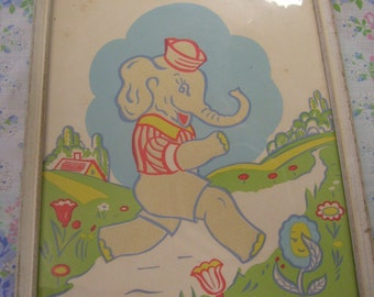 Vintage framed nursery print decor elephant in sailor hat by J.T. Citroen N.Y.