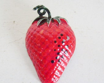 Vintage red enamel strawberry pin or brooch