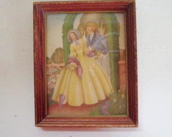 Art Deco vintage Sandre framed print courting couple 1940s small lithograph victorian lady and gentleman in wood frame