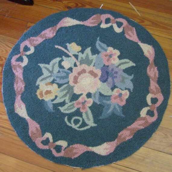 Vintage Round Floral Hooked Rug Teal Pink Blue Yellow With