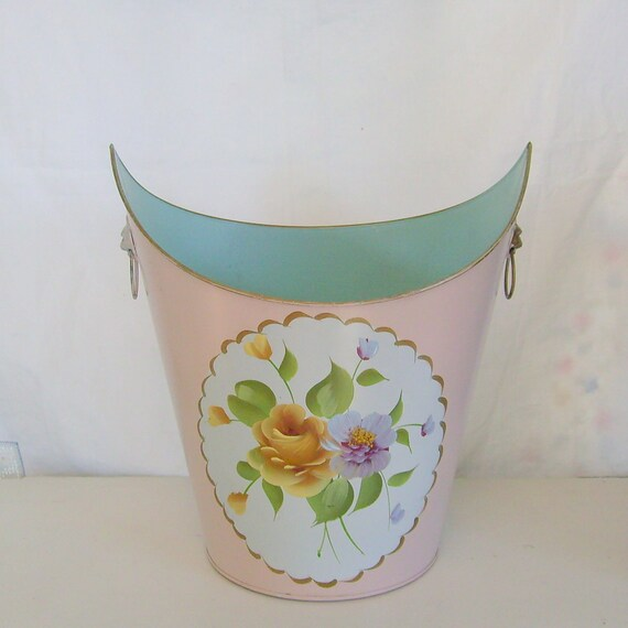 Vintage waste basket tole trash can lion heads pink and aqua with roses