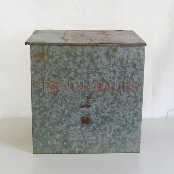 Vintage Metal Milk Box French Bauer Dairy Galvanized