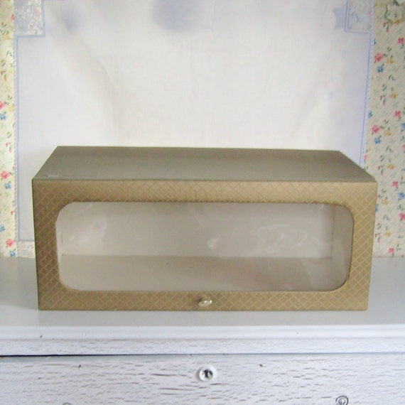 Vintage storage box for closet or underbed  by Model Home gold quilted vinyl