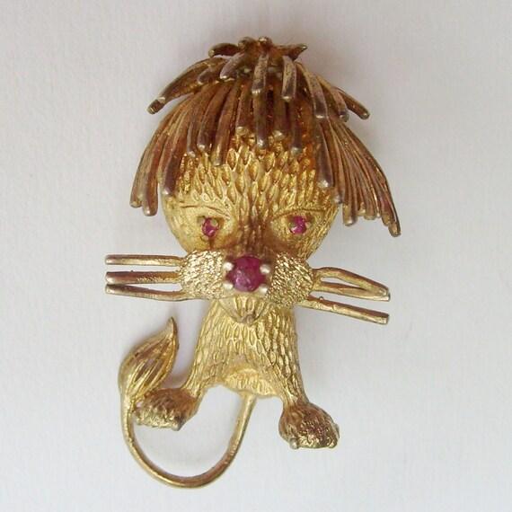 Vintage lion pin lion brooch Les Bernard brooch Les Bernard pin Sterling brooch Sterling pin vermeil with amethyst brooch stones brooch