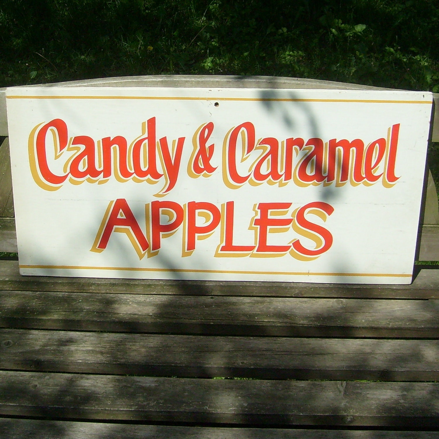 Vintage wood sign hand painted Candy & Caramel by trendybindi