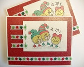 CAROLING CHICKS Christmas handmade cards, set of 4