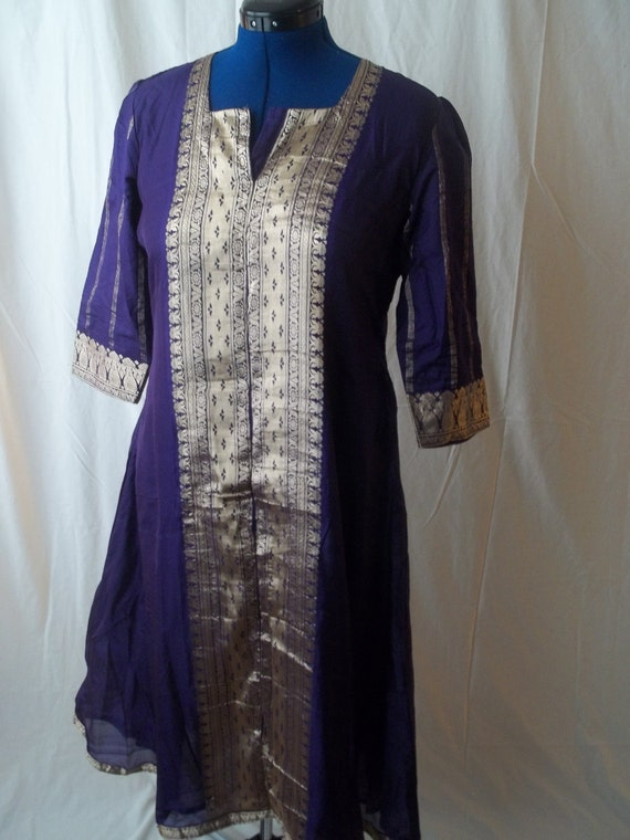 Deep Purple Tunic Dress with Gold embroidery