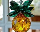 "Swarovski Crystal Topaz and Green Pineapple Suncatcher, Rainbow Maker, Housewarming Gift of Hospitality, ""GINNY""  for Home Window"