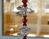 "Swarovski Crystal Sun Catcher, Window Decoration, Hanging Crystal, Lightcatcher, Housewarming Gift, Suncatcher for Home - ""NATALIE RED"""