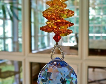 """Blue Swarovski Crystal Ball Topped with Red, Orange, and Yellow Swarovski Octagons, Rainbow Maker, Window Hanger - """"FIRE and ICE"""""""