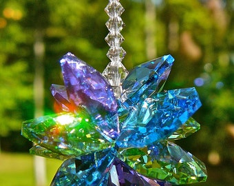 """Swarovski Crystal Car Charm Cluster of  Blue, Green and Purple, Suncatcher for Rear View Mirror or Home - """"ALLISON"""" - Choose from 2 Lengths"""