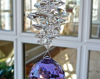 """Purple Crystal Ball Suncatcher, Made Entirely with Swarovski Crystals, 30mm Ball (1.2"""") Topped with Cascade of Crystal Octagons-""""CATHERINE"""""""