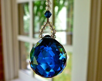 Dark Blue Crystal Ball Car Charm, All Swarovski Crystal for Rearview Mirror or Home Window Ornament, 2 Lengths, 14 Colors -LITTLE SIMPLICITY