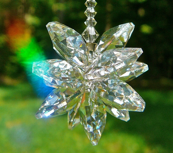 "Swarovski Crystal Cluster Sun Catcher - ""STELLA"" Comes in 5"" Length for Car or 9"" for Home - Beautiful Rainbow Maker"