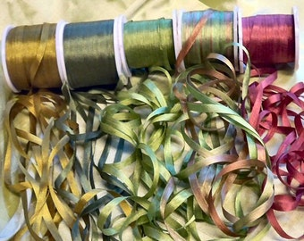 25 yards of 4mm silk ribbon  in the moss colorway