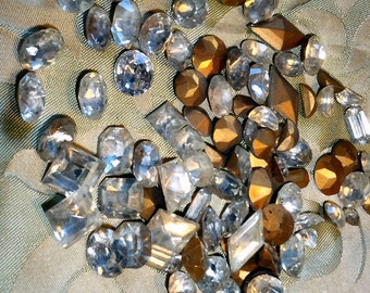 Crystals twenty pieces Czech with foil back. Assorted shapes