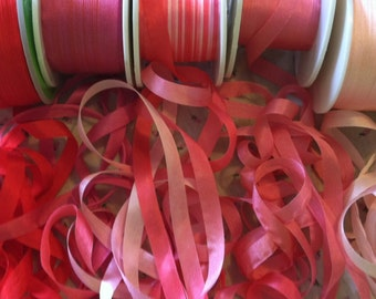Red and Pink 7mm assortment silk ribbon pack 25 yards