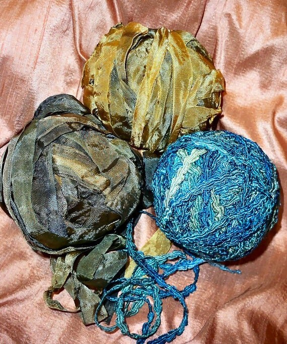 Rayon ribbon hand dyed 3 yards Elements