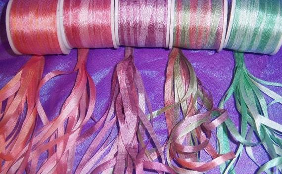 Beautiful  Rose blush silk ribbon pack 25 yards 4mm