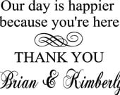 2-Custom Thank You Wedding Wall Decoration Vinyl Stickers