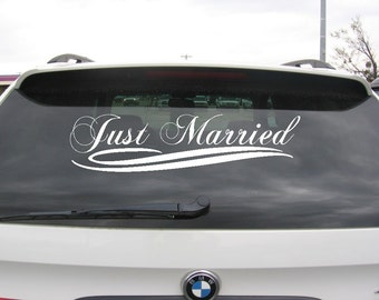 Just Married Wedding Car Decoration Vinyl Decal Sticker Vinyl lettering Vehicle Stickers Decal Wedding Decor Just Married