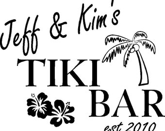 Custom Name Tiki Bar Personalized Wall Words Vinyl Lettering Decals Colors