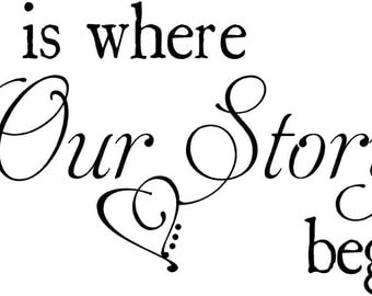 Large Custom Our Story Begins Wedding Wall Decal Vinyl Lettering Sticker Words Decor
