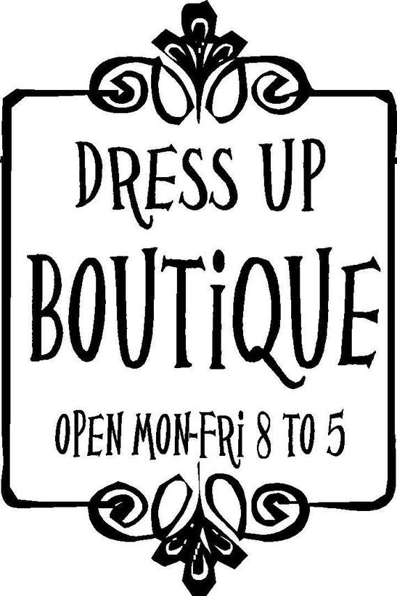 Dress Up Boutique Girls Room Decor Wall Art in Words Stickers Vinyl lettering Decals