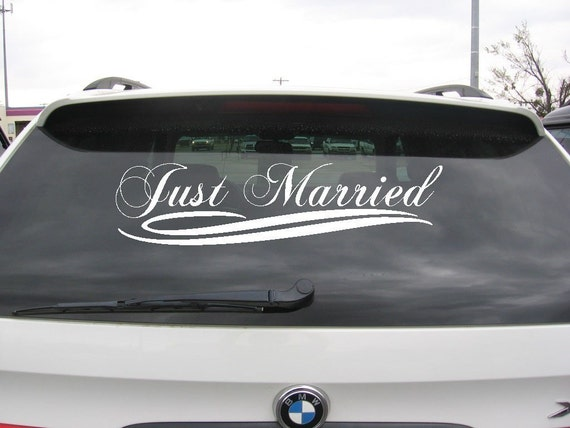 Just married wedding car decoration vinyl decal sticker vinyl like this item junglespirit Image collections
