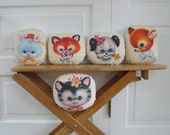 Animal Pillow Cushion Cat  Dog Fox  Deer  Bunny Nursery Decor Baby