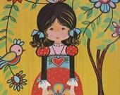 Girl Print Child Art Bird Yellow Kitsch Retro Baby Kid