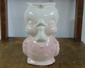 Vintage VAse Bird Pottery Ceramic Pink Pitcher