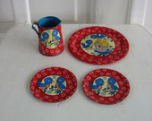 Vintage Metal Tea Set Children Girl Bird Red Blue Plates Pitcher