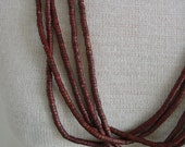 Vintage Long Necklace Jewelry Red Wood Beaded Strands Woman