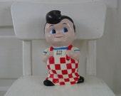Bobs Big Boy Doll Bank Rubber Plastic Toy Souvenir Kitsch Vintage