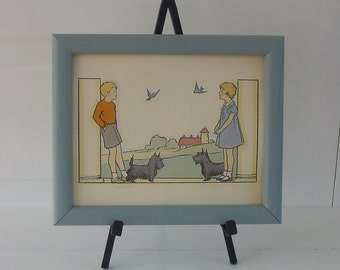 Child Print Art Boy Girl Bird Dog Scottie Terrier Vintage