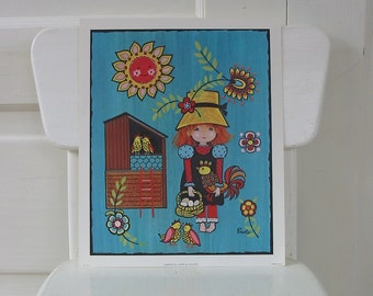 Girl Print Child Aqua Lithograph Chicken Farm Nursery Decor Vintage