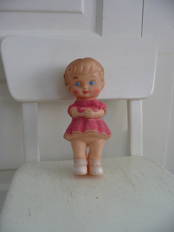 Vintage Rubber Girl Toy Children  Pink