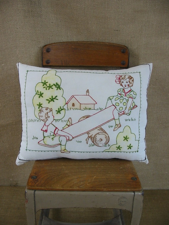 Vintage Pillow Child Embroidered Baby See Saw Girl Boy Nursery Decor