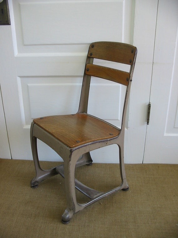 Vintage Children Chair Furniture School Wood Metal By