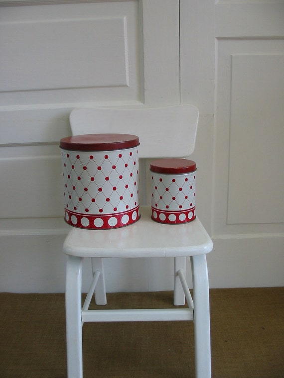 Canisters Red Polka Dot Retro Kitchen