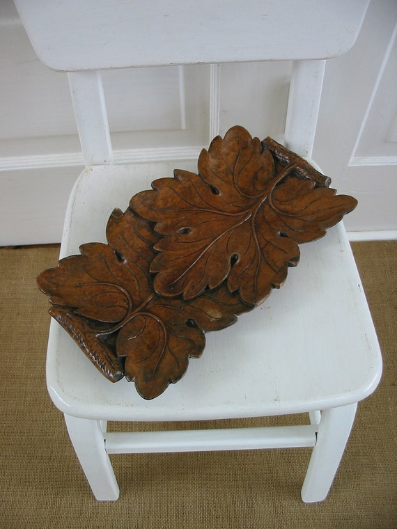 Vintage Wood Leaf Fall Autumn Brown Tray Bowl