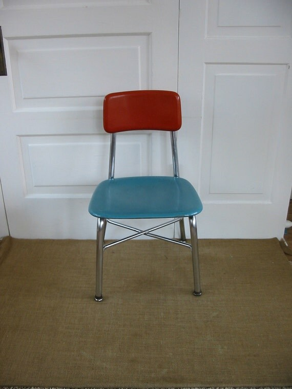 Vintage Metal Aqua Orange Retro Nursery Boy Girl School Children Chair