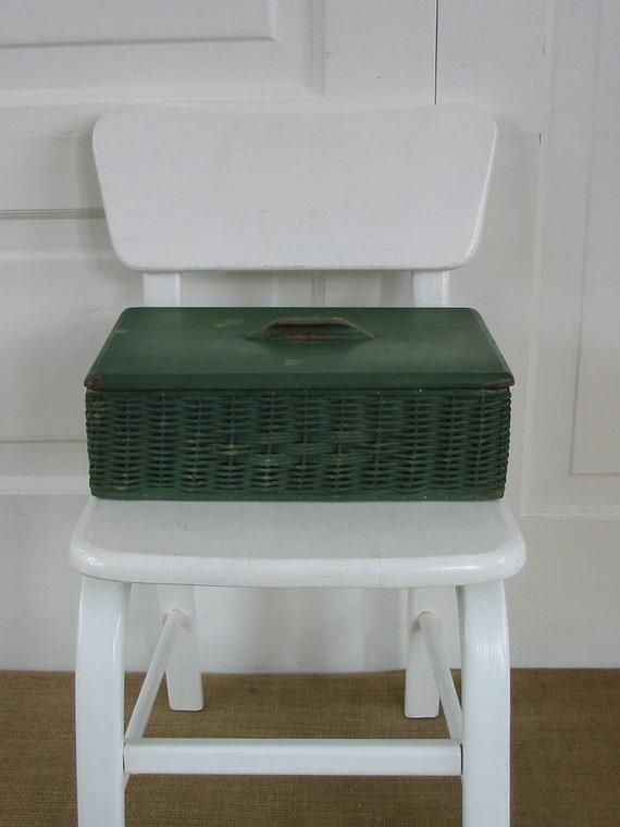 Sewing Basket Box Wicker Green Vintage