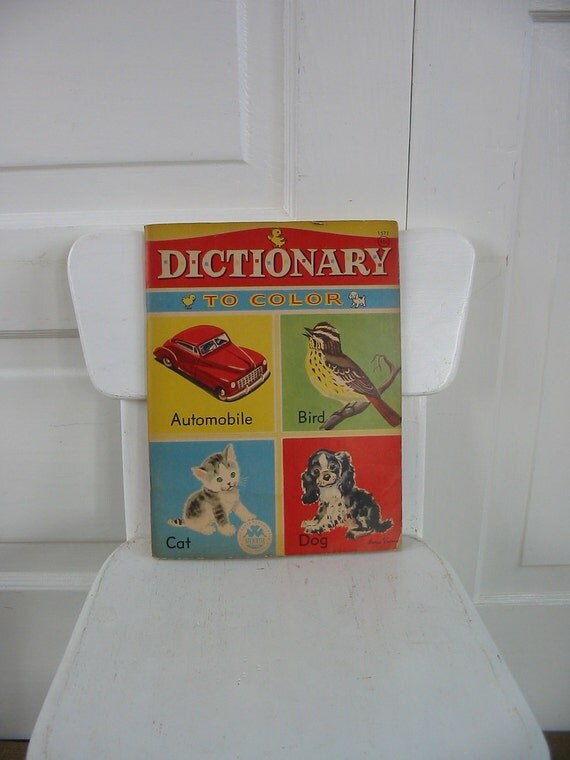 Vintage Coloring Book Children Retro Dictionary Ephemera Supply