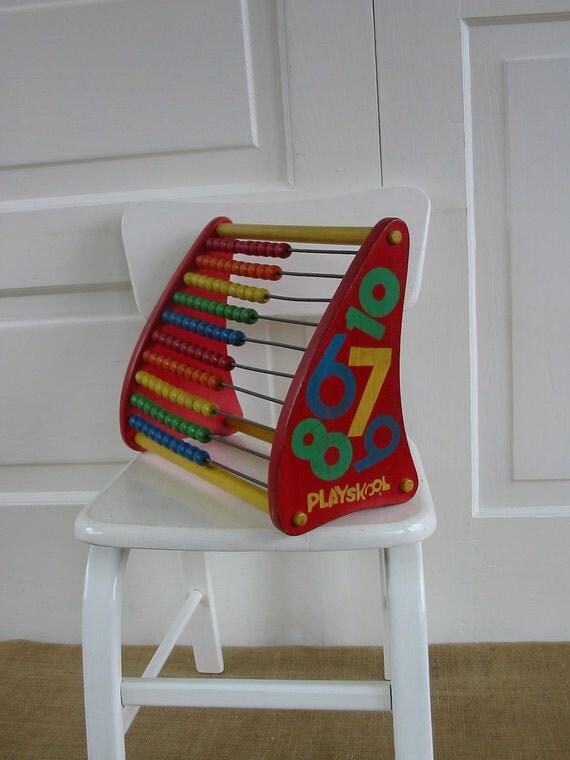 Toy Abacus Wood Math Children Boy Girl Nursery Decor Beads School Vintage