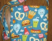 Cute flannel food messenger bag or purse